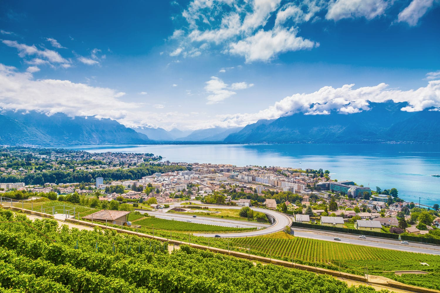 Aerial panoramic view of the city of Vevey at Lake Geneva in Canton of Vaud, Switzerland