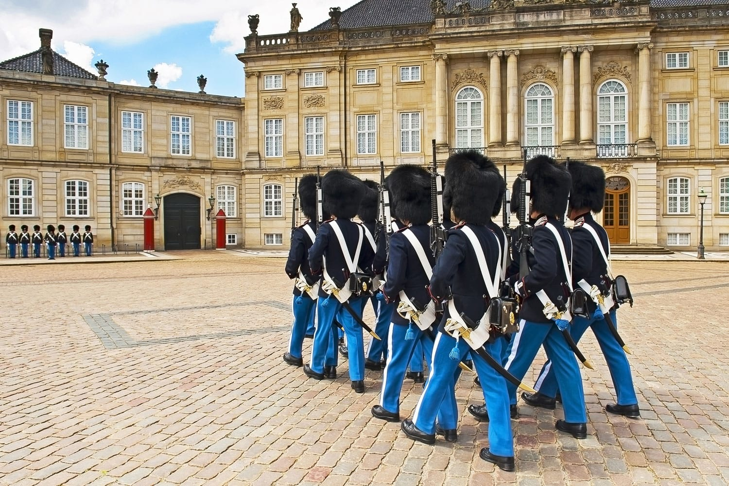 Royal Guard in Amalienborg Castle in Copenhagen in Denmark