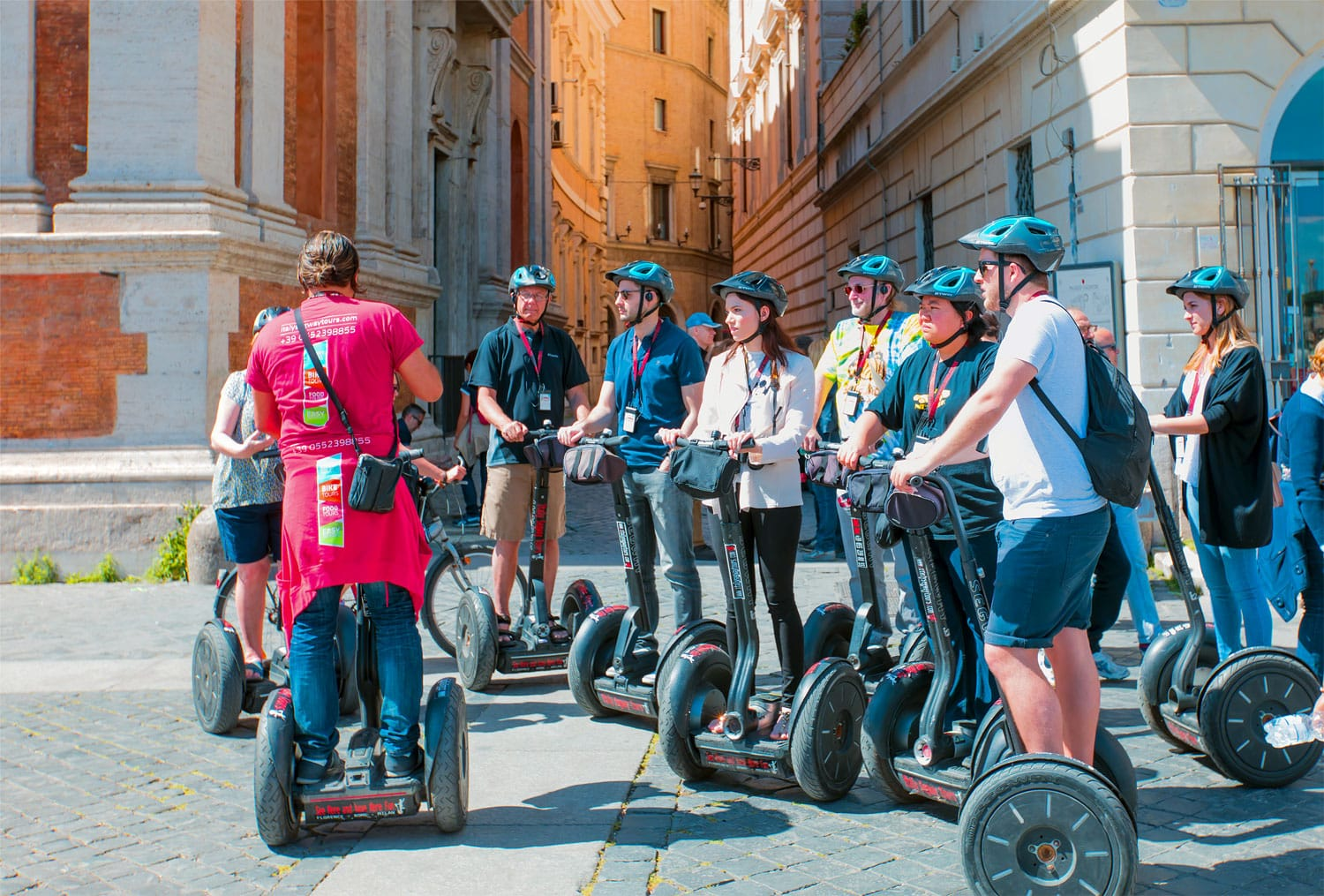 Tourist group having guided Segway city tour in Rome