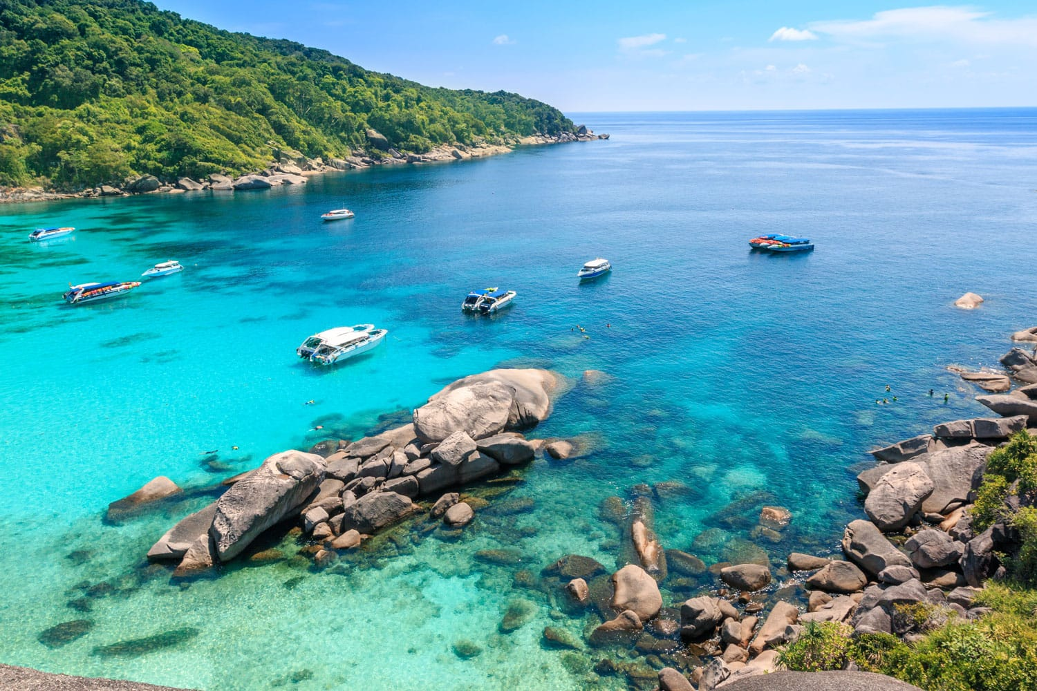 Top view of Similan Island National Park on Andaman sea in Thailand.