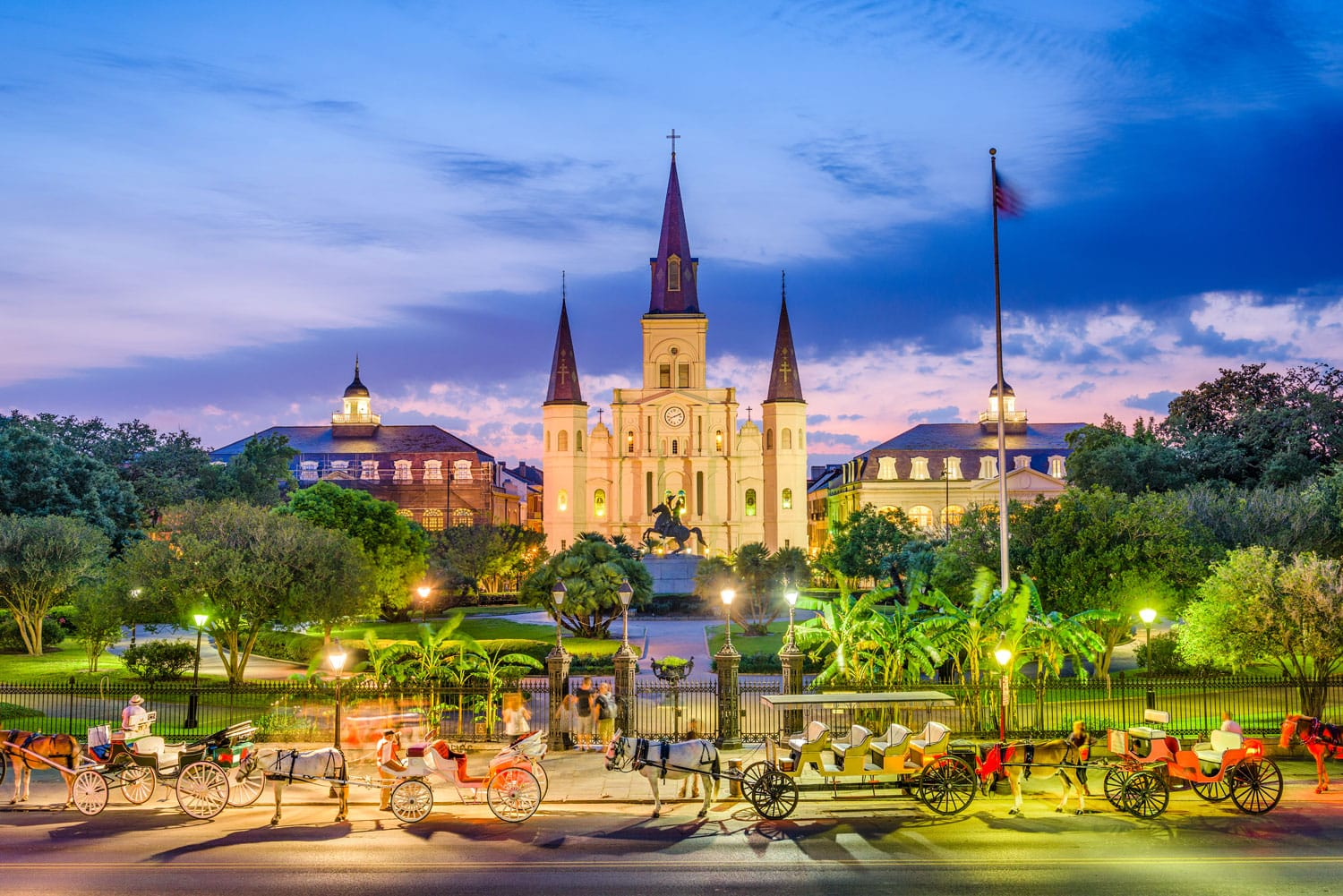 St. Louis Cathedral and Jackson Square in New Orleans, Louisiana, USA