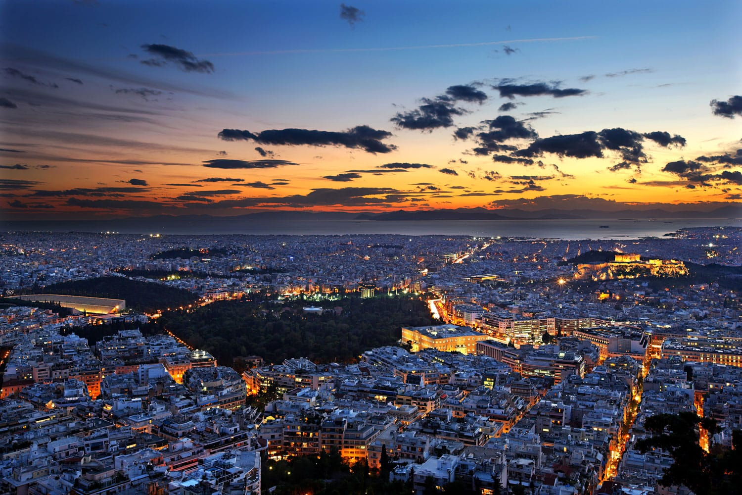 Panoramic view of Athens city from Lycabettus hill, after sunset, Athens, Greece