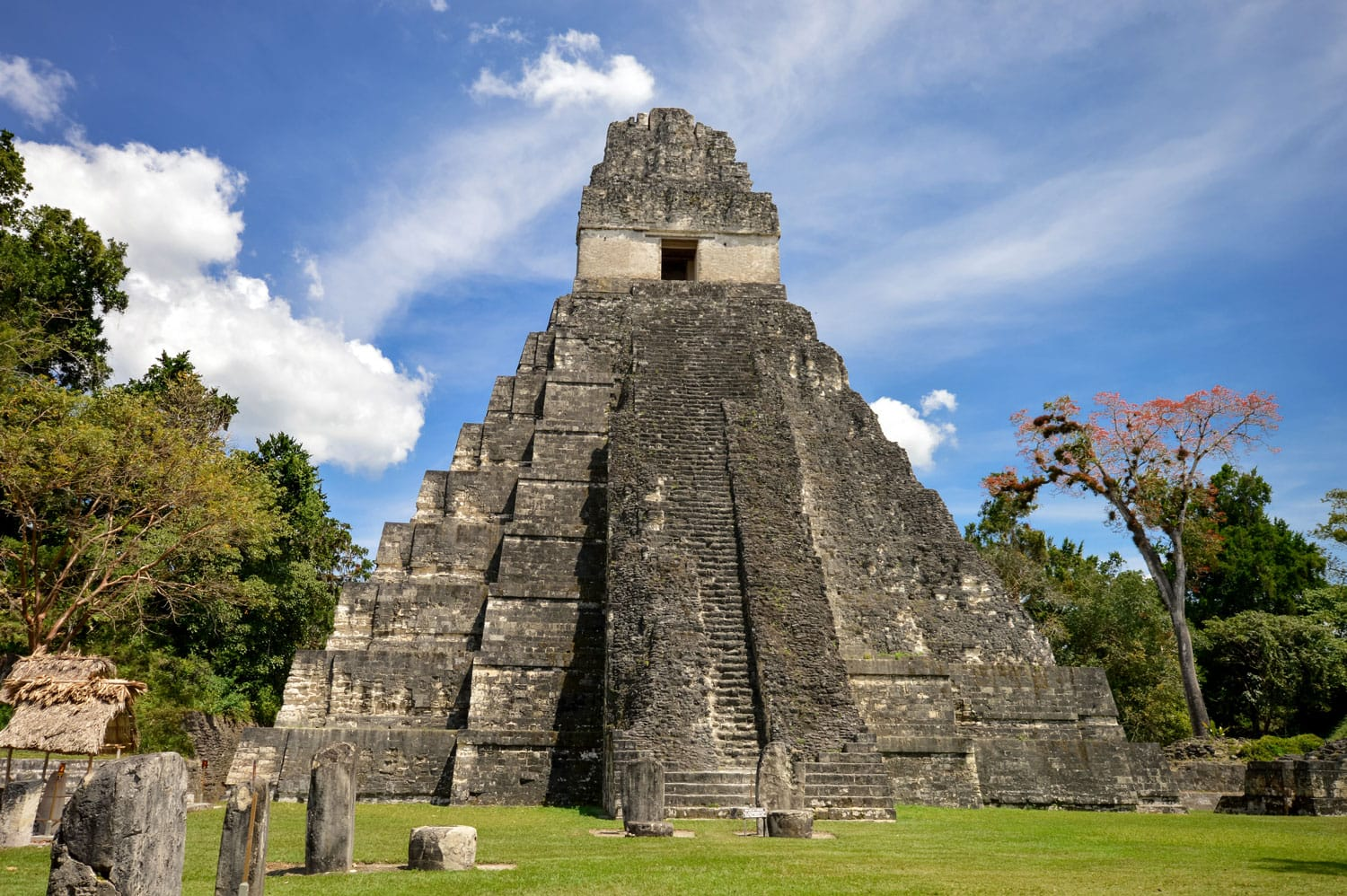 Temple I of the Maya archaeological site of Tikal in Peten, Guatemala. Central America