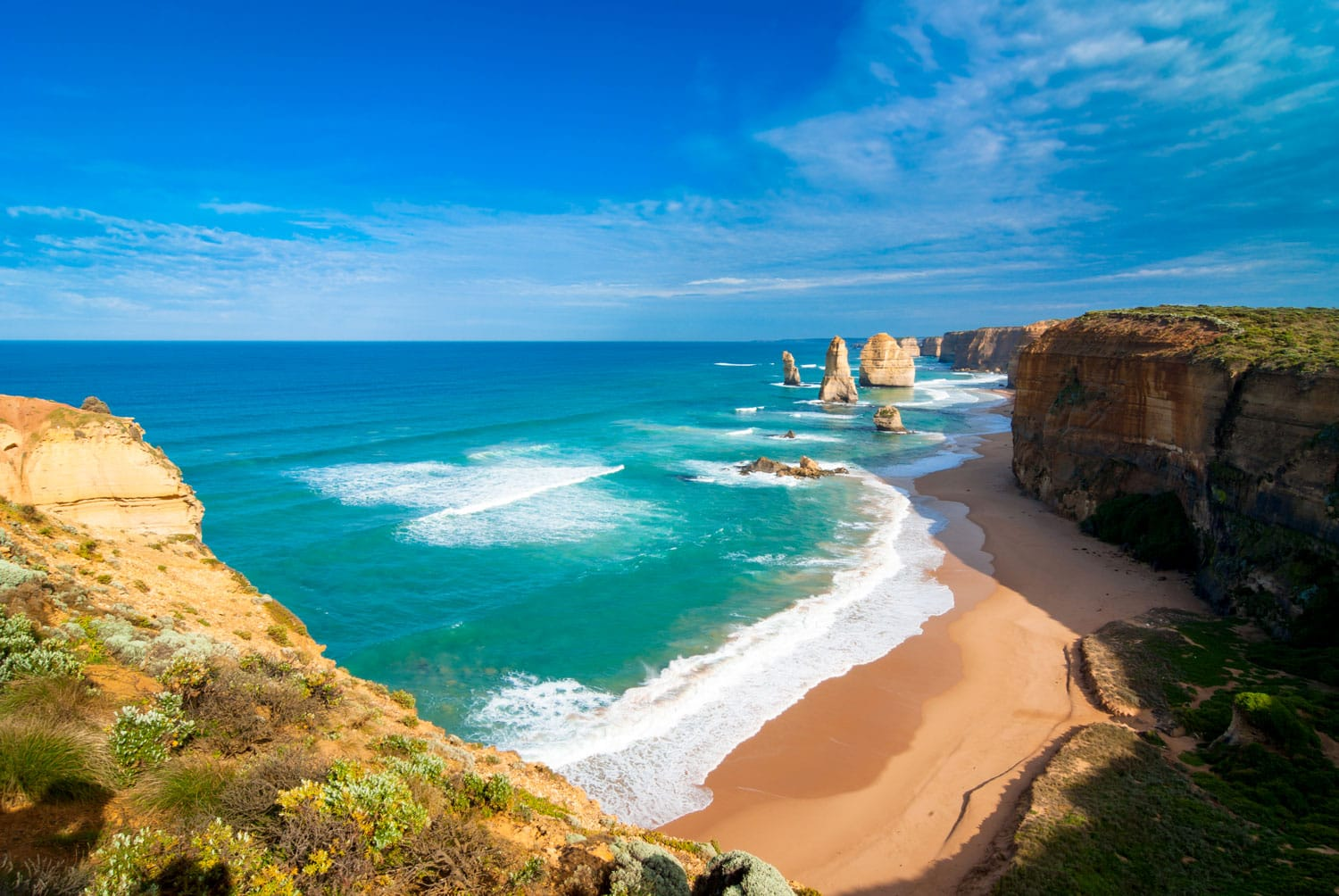 View of the Twelve Apostles along the Great Ocean Road in Victoria, Australia