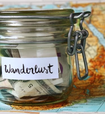 Wanderlust travel money jar