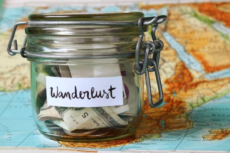Wanderlust travel money jar