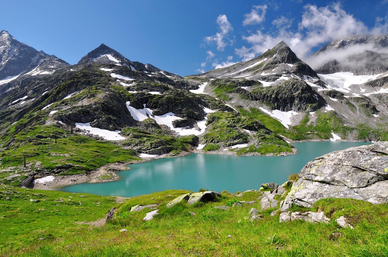 Weisssee, White Lake in National park Hohe Tauern - Austrian Alps, Austria