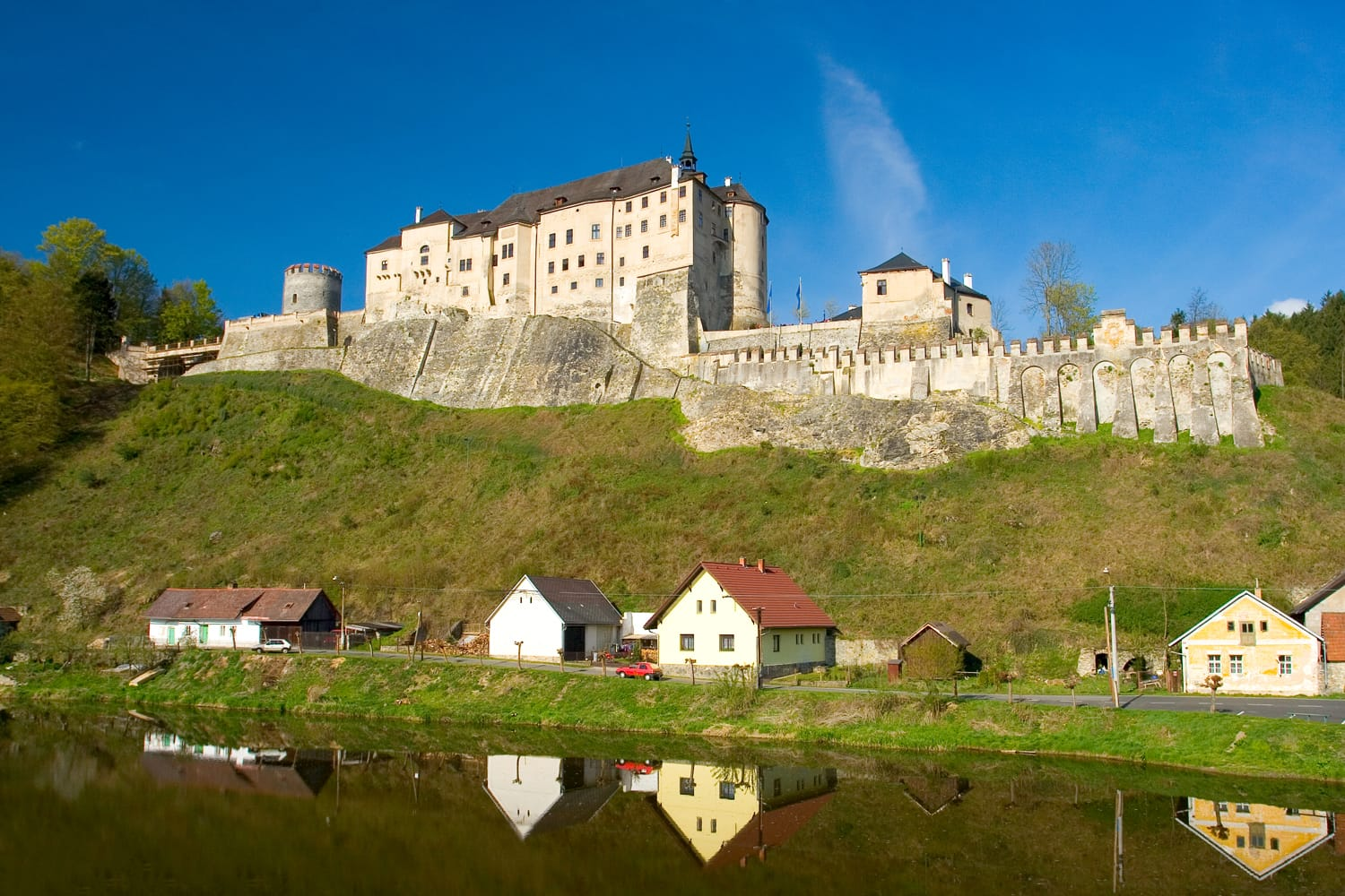 Photo of a castle Cesky Sternberk with blue sky in Czech republic