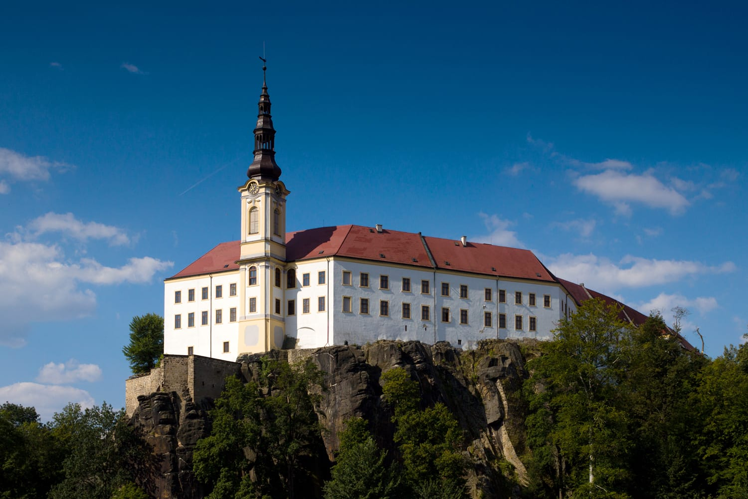 White chateau (castle) on the rock - Decin, Bohemia, Czech Republic.