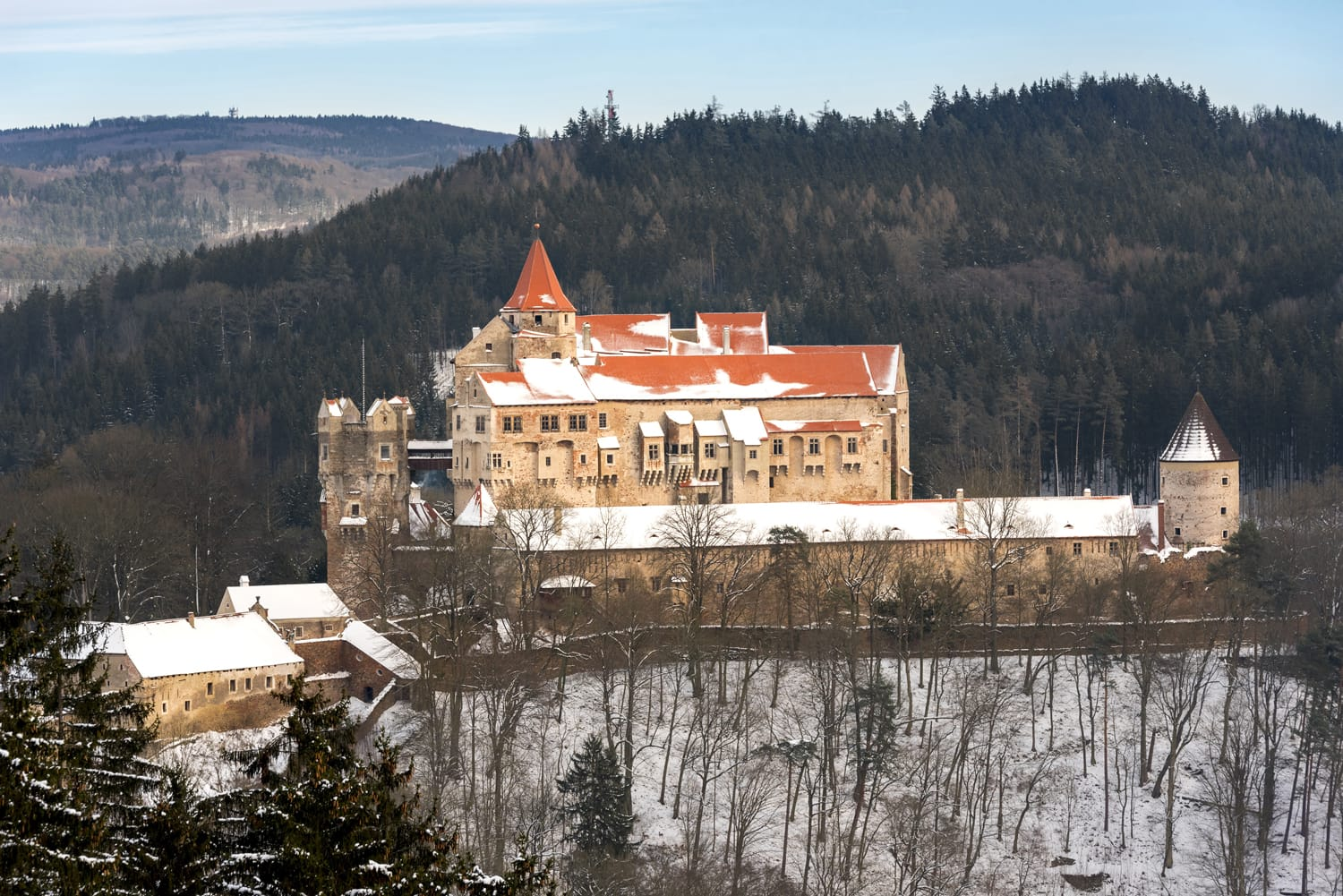 Pernstejn Castle in winter time, northwest of Brno, in the South Moravian Region, Czech Republic