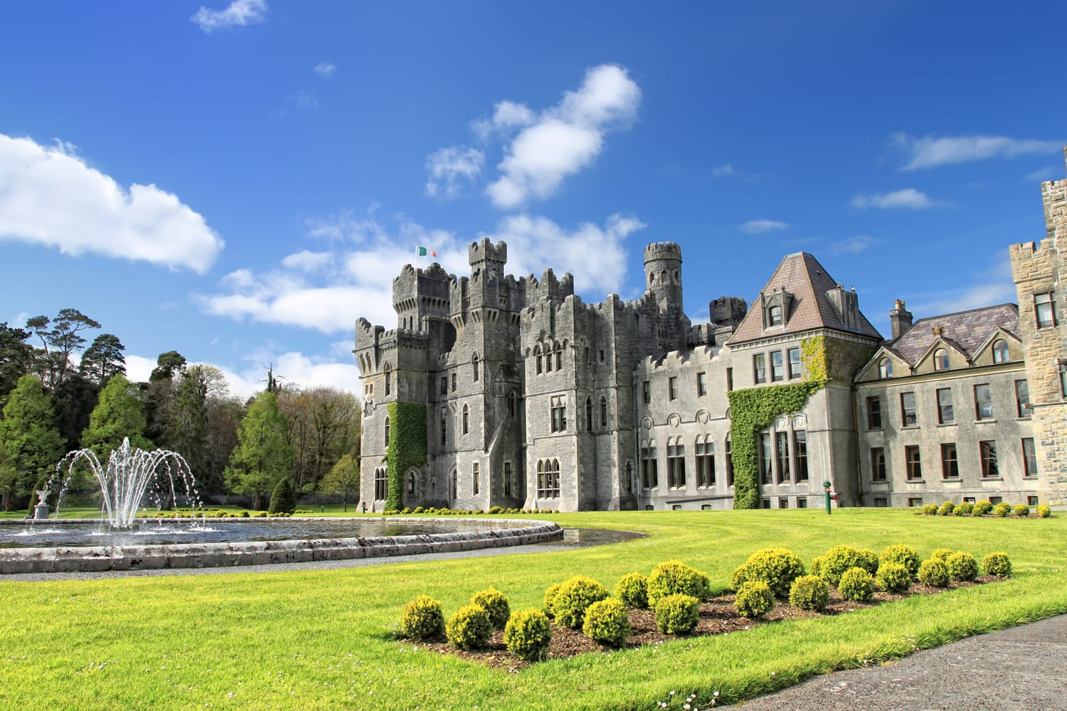 Medieval Ashford castle and gardens in Ireland