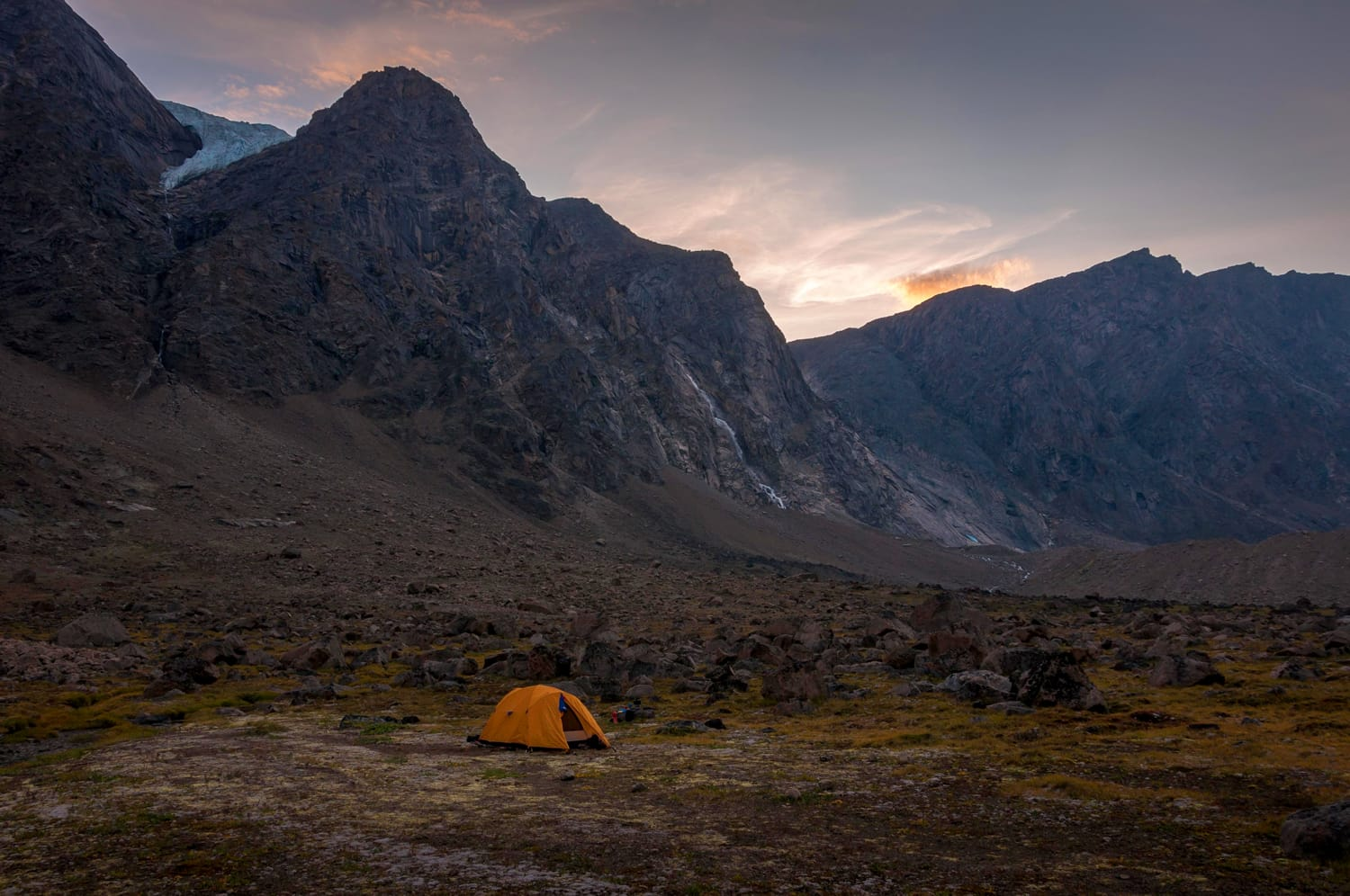 Base camping in Auyuittuq National Park scenery, Nunavut, Canada