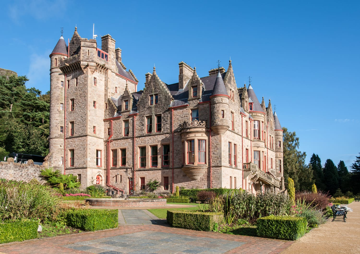 Belfast castle. Tourist attraction on the slopes of Cavehill Country Park in Belfast, Northern Ireland