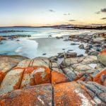 Drammatic landscape in The Gardens, Bay of Fires consevation Area ranging from Binalong Bay to Eddystone Point, east coast of Tasmania in Australia.