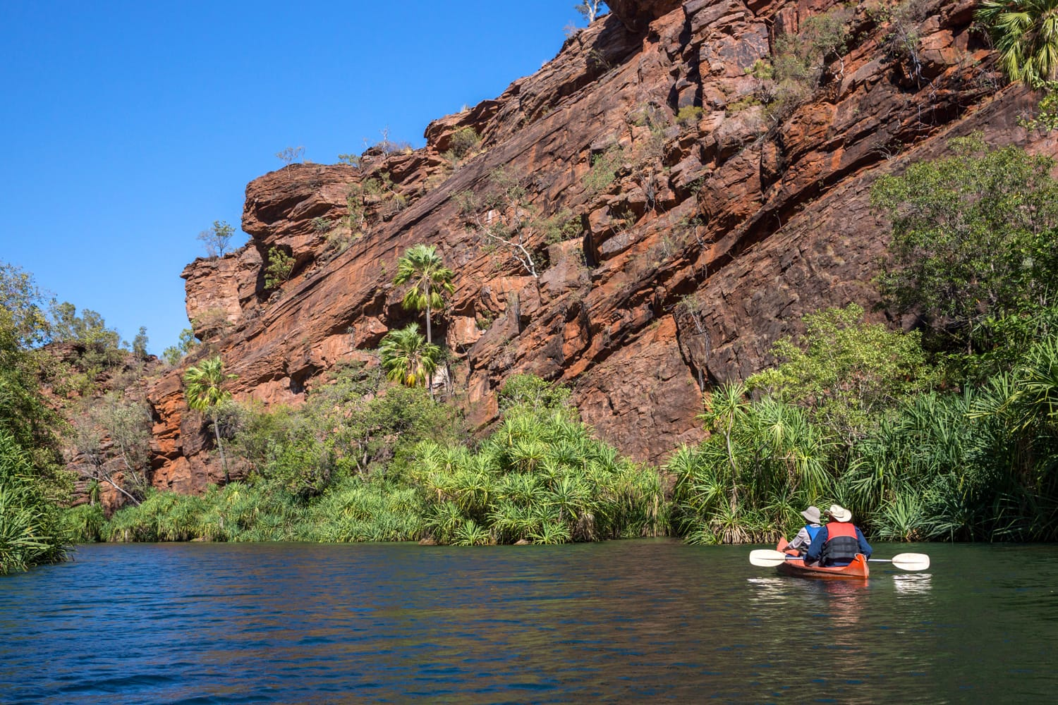 Couple in canoe at Lawn Hill Gorge, Queensland, Australia