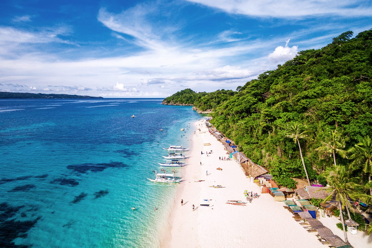 Aerial view of Boracay Island, Western Visayas, Philippines.