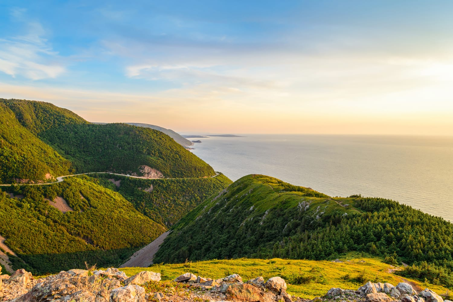 Skyline Trail look-off at sunset (French Mountain, Cape Breton, Nova Scotia, Canada)