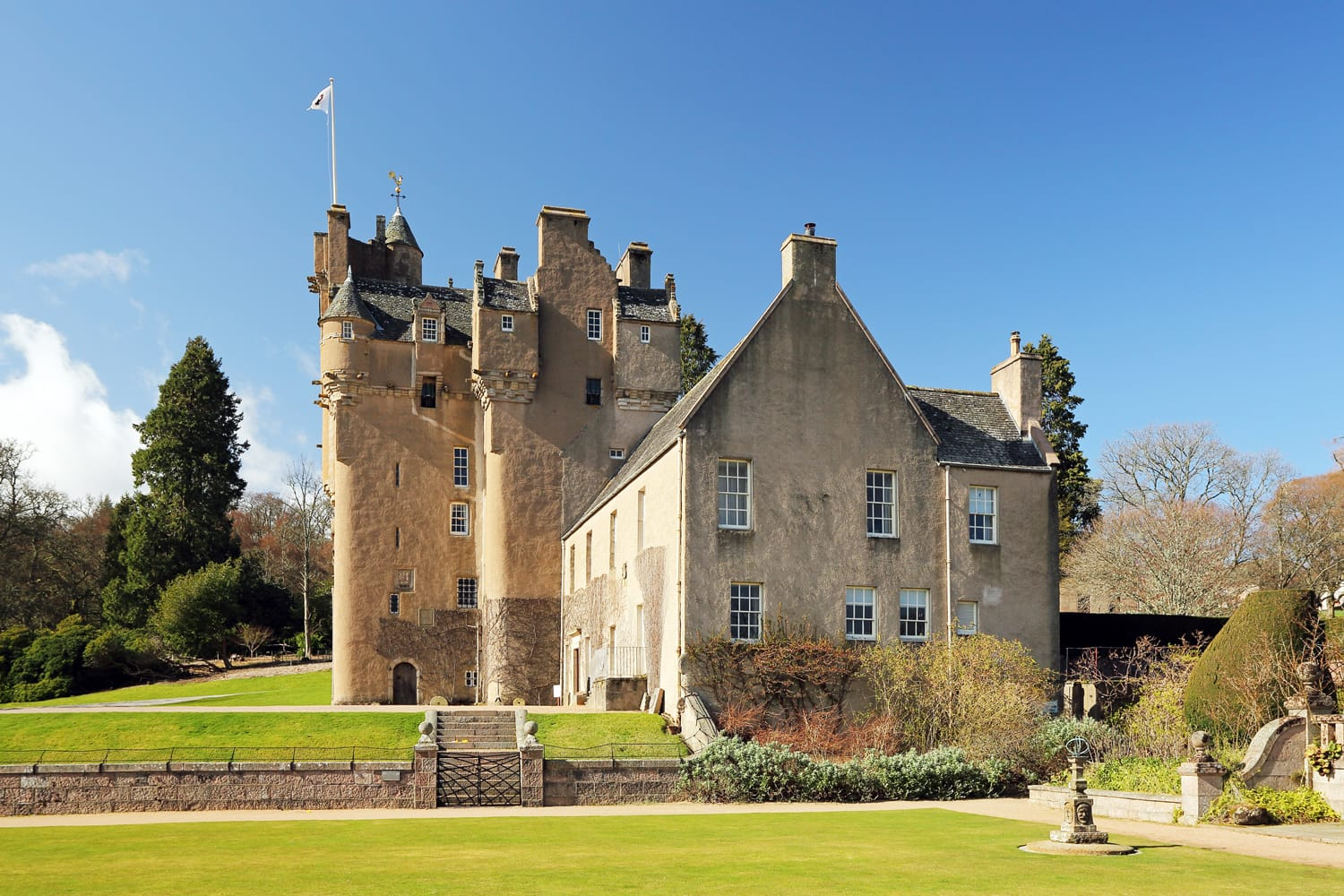 Crathes Castle, a 16th century tower-house situated in Aberdeenshire Scotland