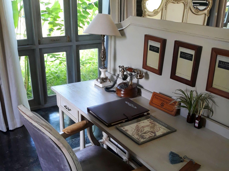 Vintage desk at Reverie Siam Resort in Pai, Thailand