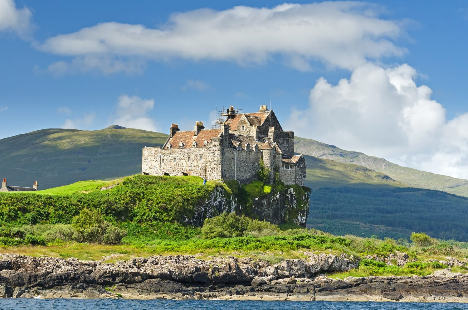 A view on Duart castle during summertime in the Hebrides on the westcoast of Scotland