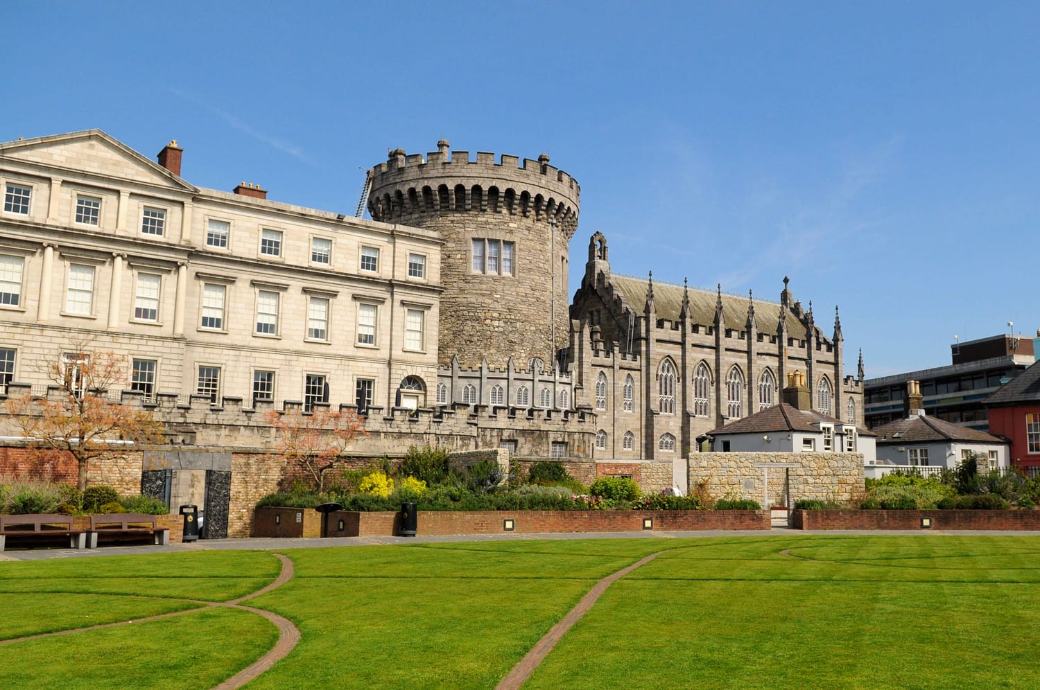 Dublin Castle from Dubh Linn gardens on a sunny spring day, Dublin, Ireland