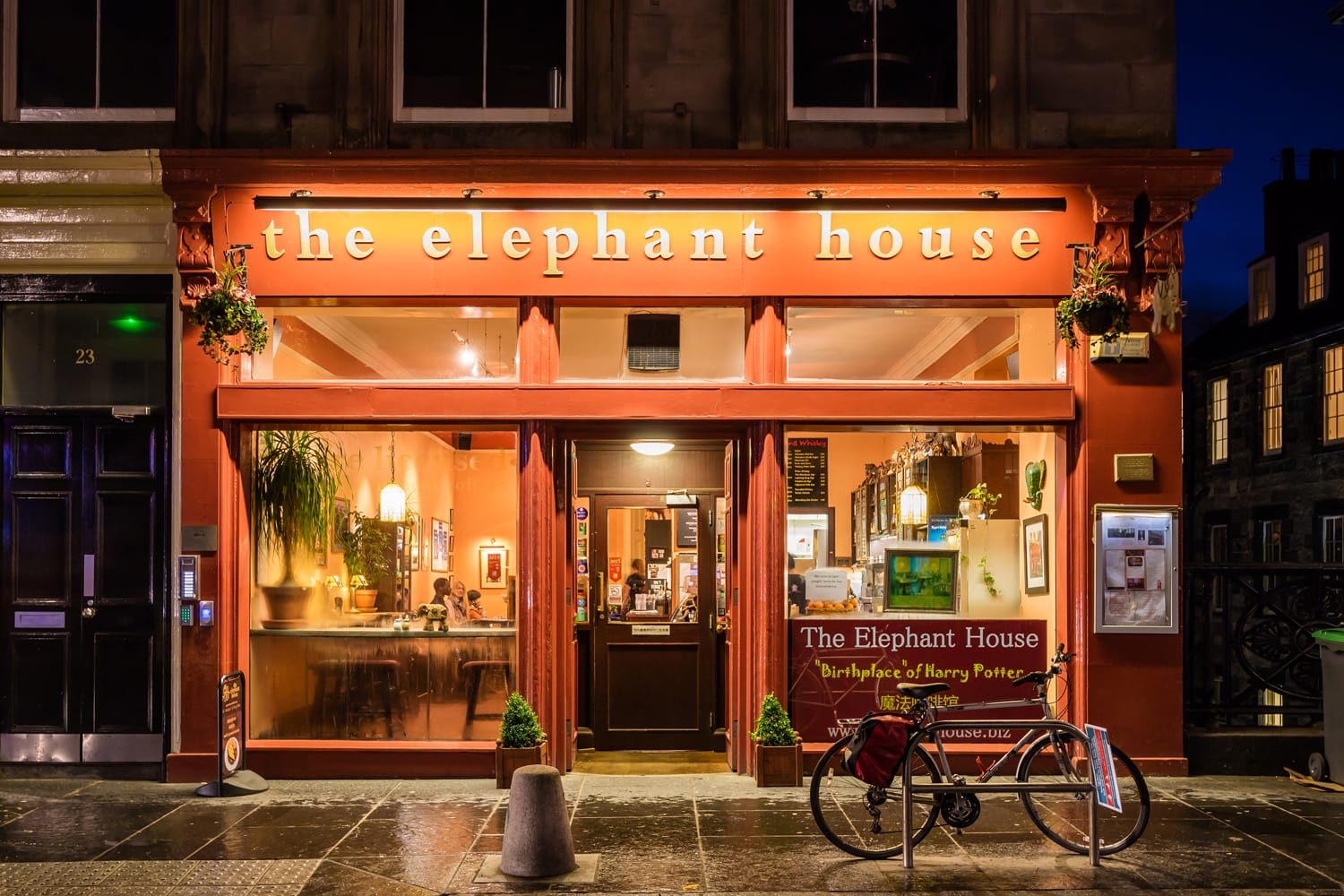 The Elephant house cafe, made famous as the place of inspiration to writer J.K. Rowling, author of Harry Potter.