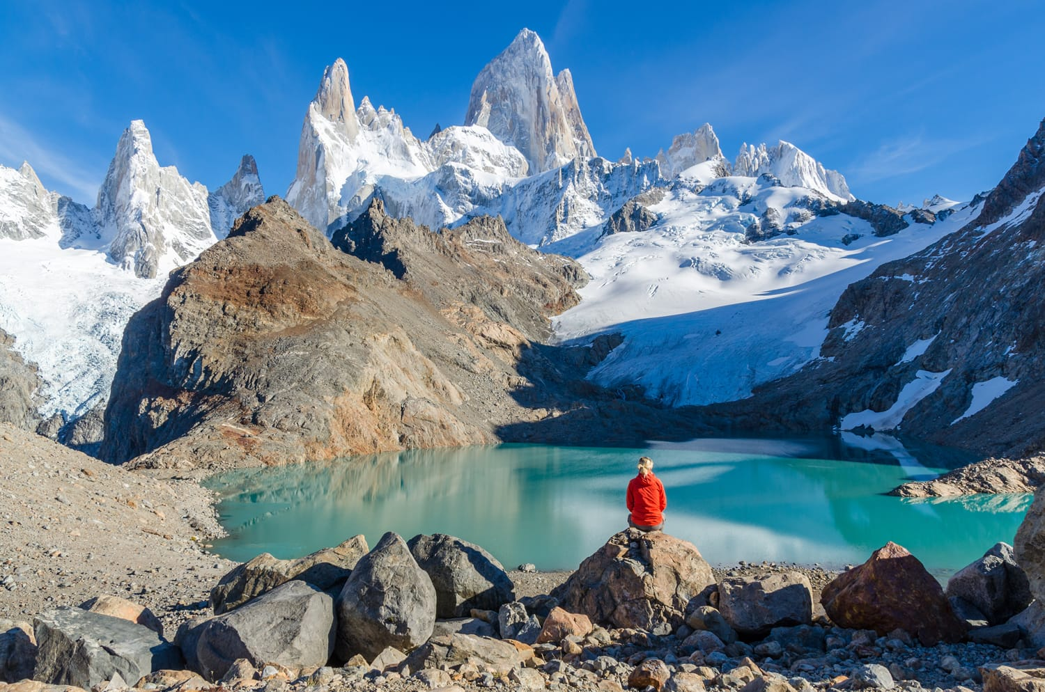 Woman admiring Fitz Roy in Argentina