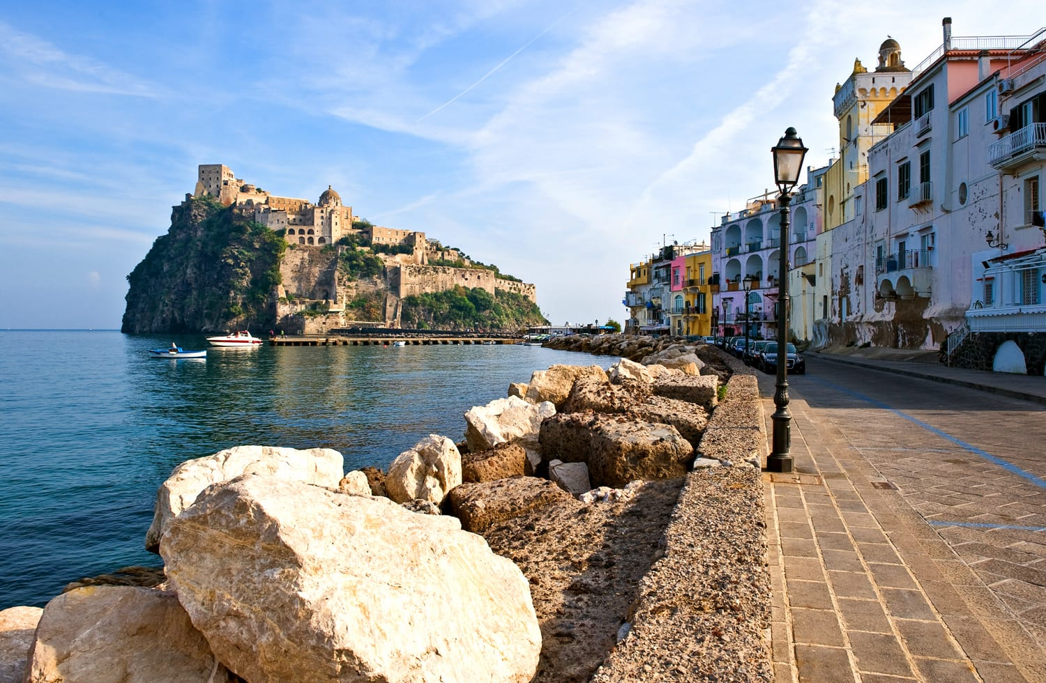 Italy, Ischia, the Aragonese Castle seen from Ischia Ponte