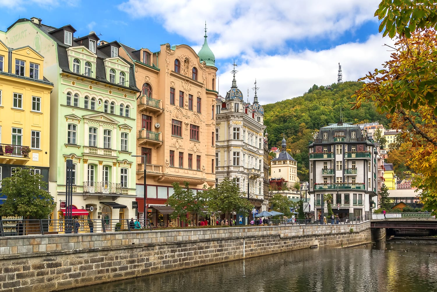 Embankment of Tepla river in the center of Karlovy Vary, Czech republic