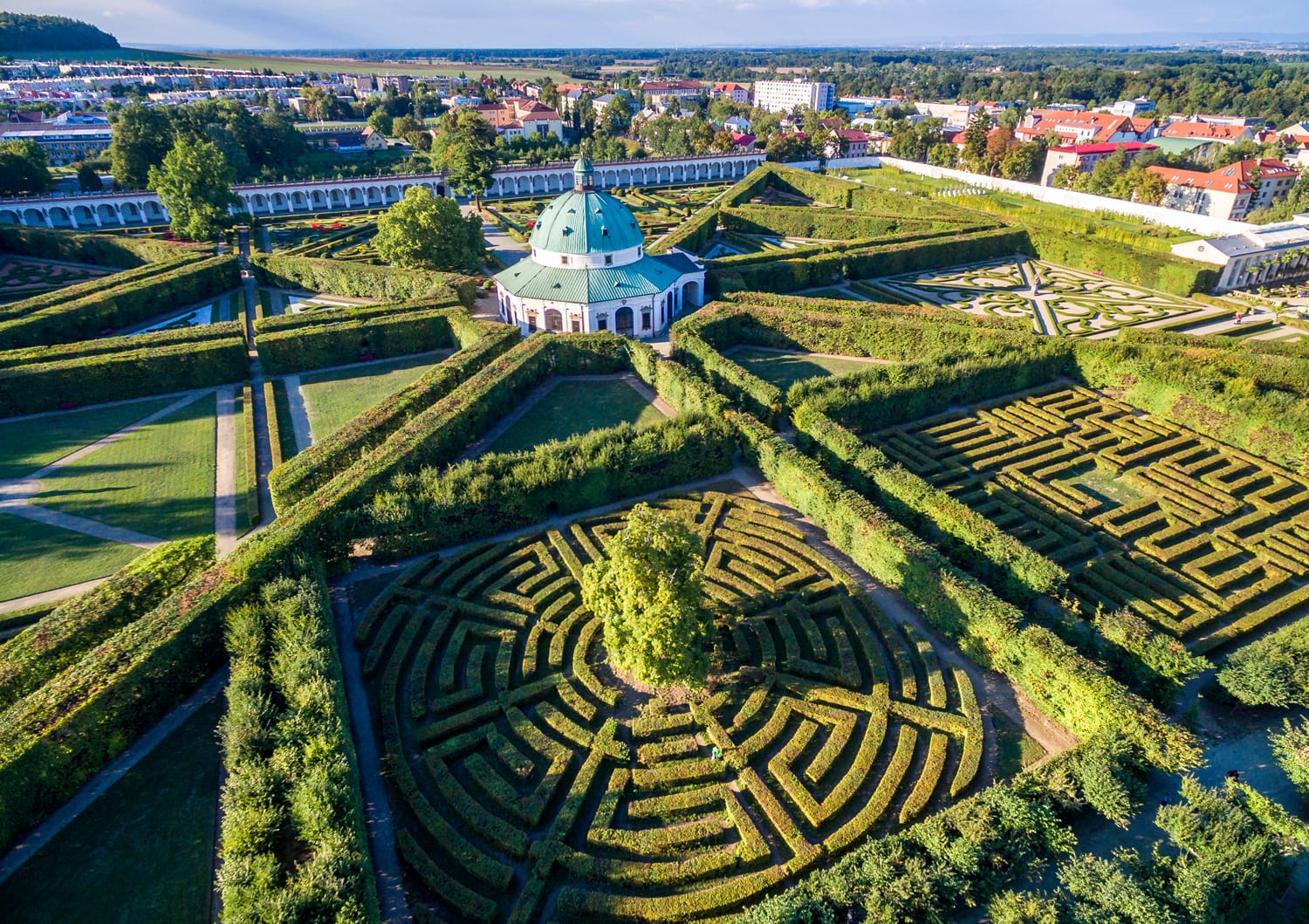 Aerial view shot of the Kromeriz Kvetna Garden - part of the Unesco Czech Heritage