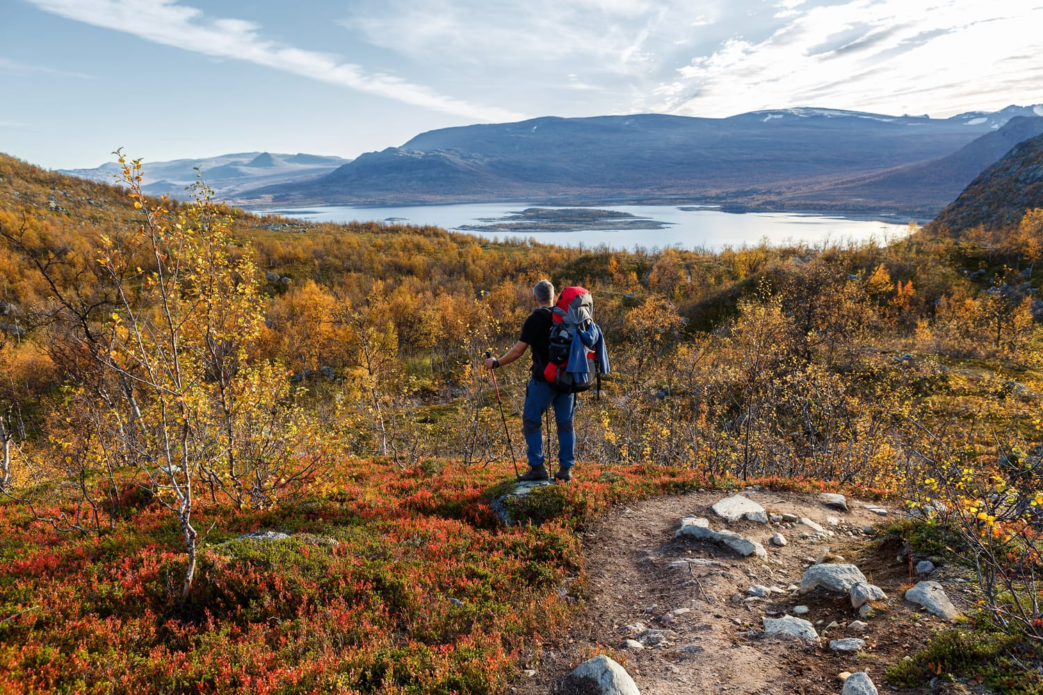 Hiking in Sweden on the Kungsleden in Autumn