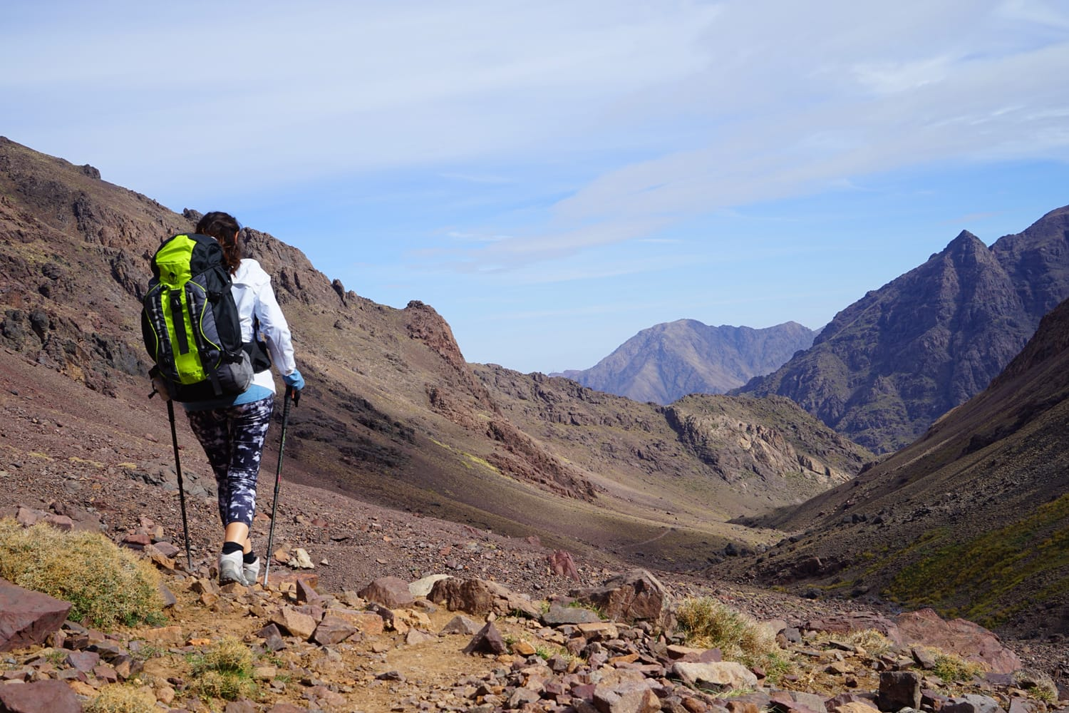 Woman hiking in the Mount Toubkal