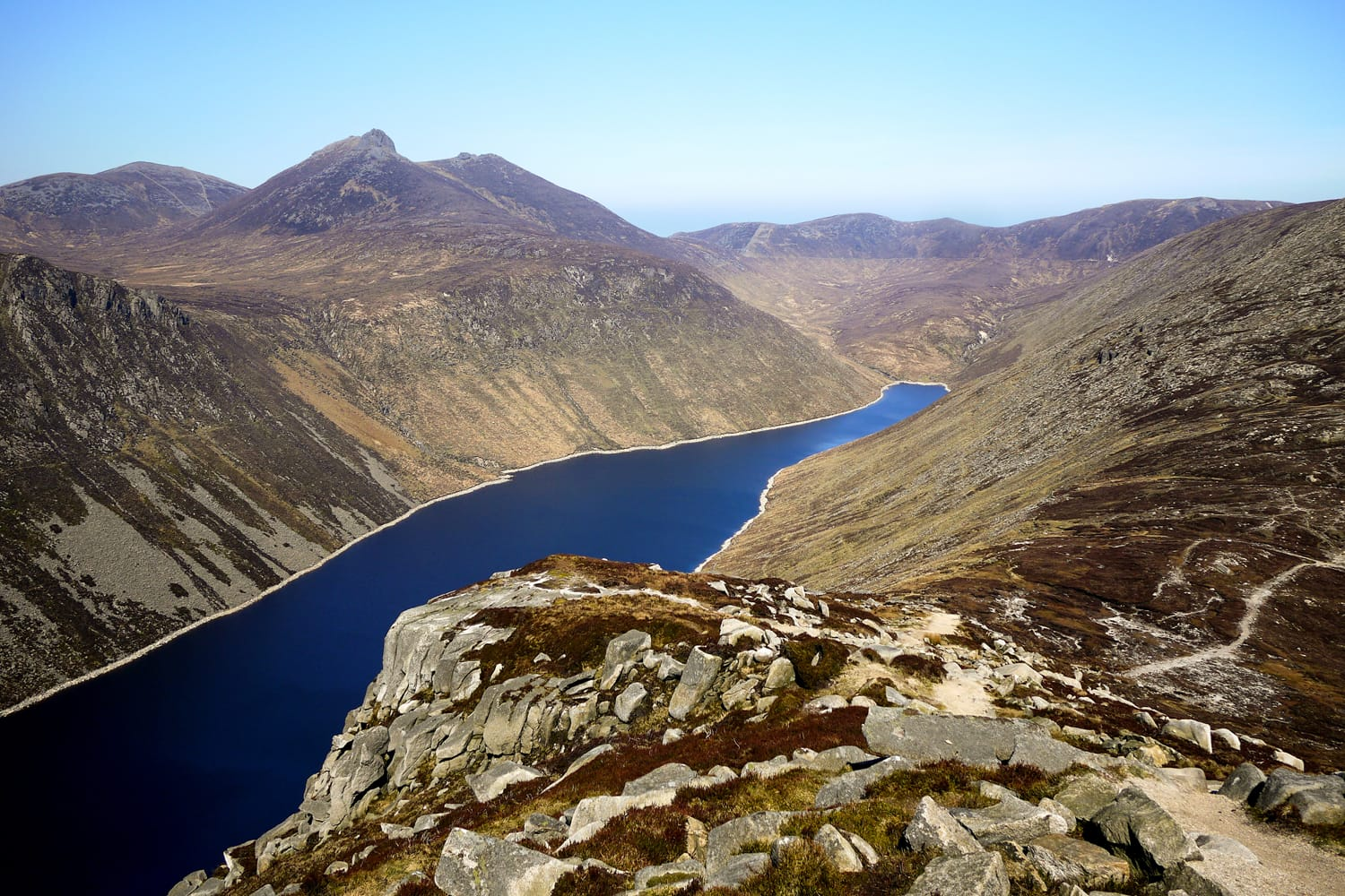Ben Crom Reservoir in the Mourne Mountains, County Down, Northern Ireland, seen from Slieve Binnian.