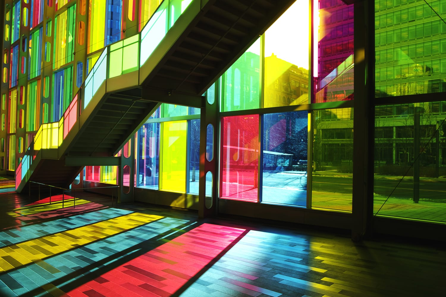 Stunning effect of light shining through stained glass at the Palais des Congres in Montreal, Canada