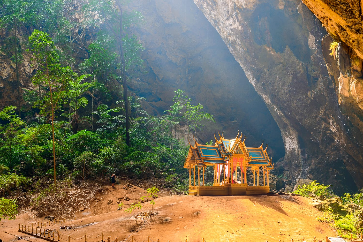 Phraya Nakhon Cave is the most popular attraction is a four-gabled pavilion constructed during the reign of King Rama its beauty and distinctive identity the pavilion at Prachuap Khiri Khan, Thailand.