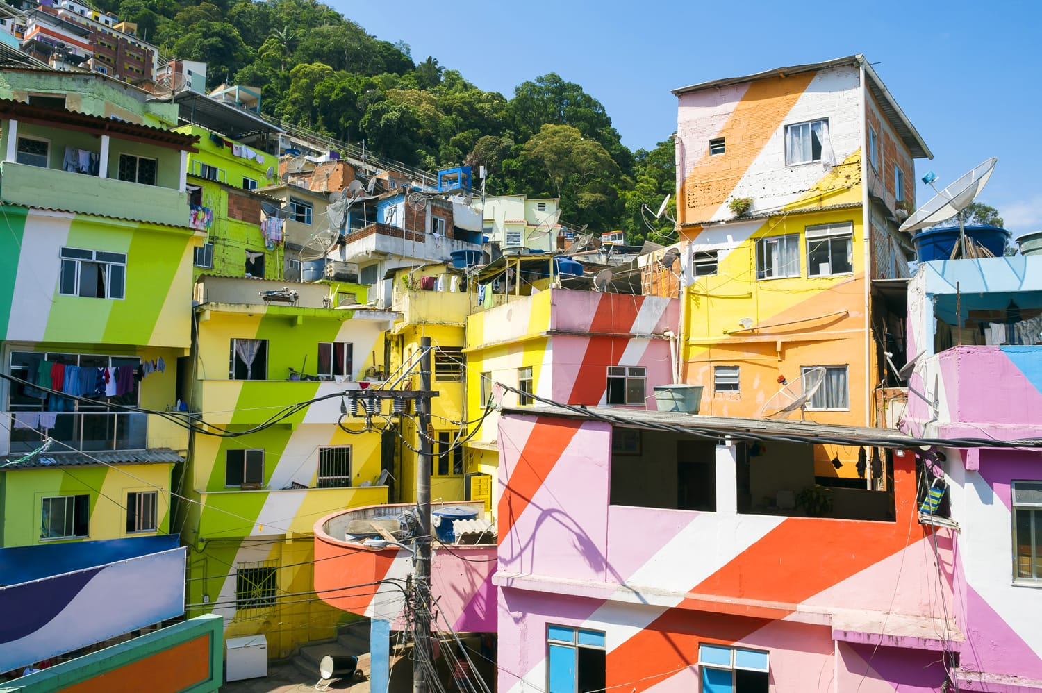 Colorful painted buildings of Favela Santa Marta in Rio de Janeiro Brazil