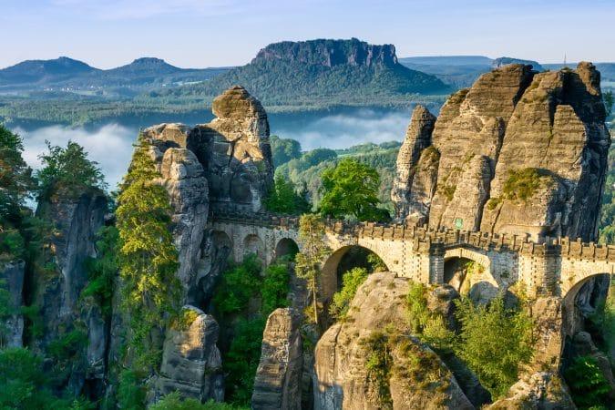 Bridge named Bastei in Saxon Switzerland, Germany