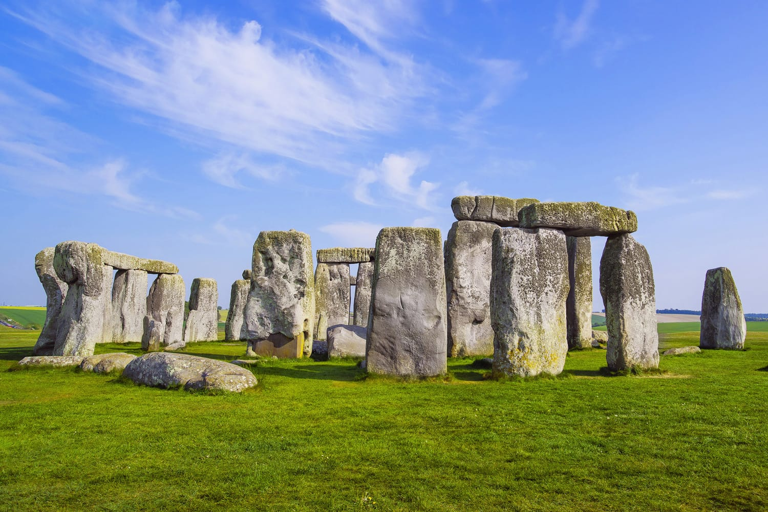 Stonehenge in Wiltshire of England in cloudy weather. It is a prehistoric monument 8 miles north from Salisbury, in the place called Wiltshire in South West England. It is under protection of UNESCO.