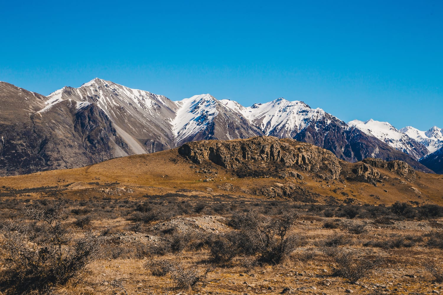 Mount Sunday at The Rangitata River Hakatere Conservation Park, New Zealand