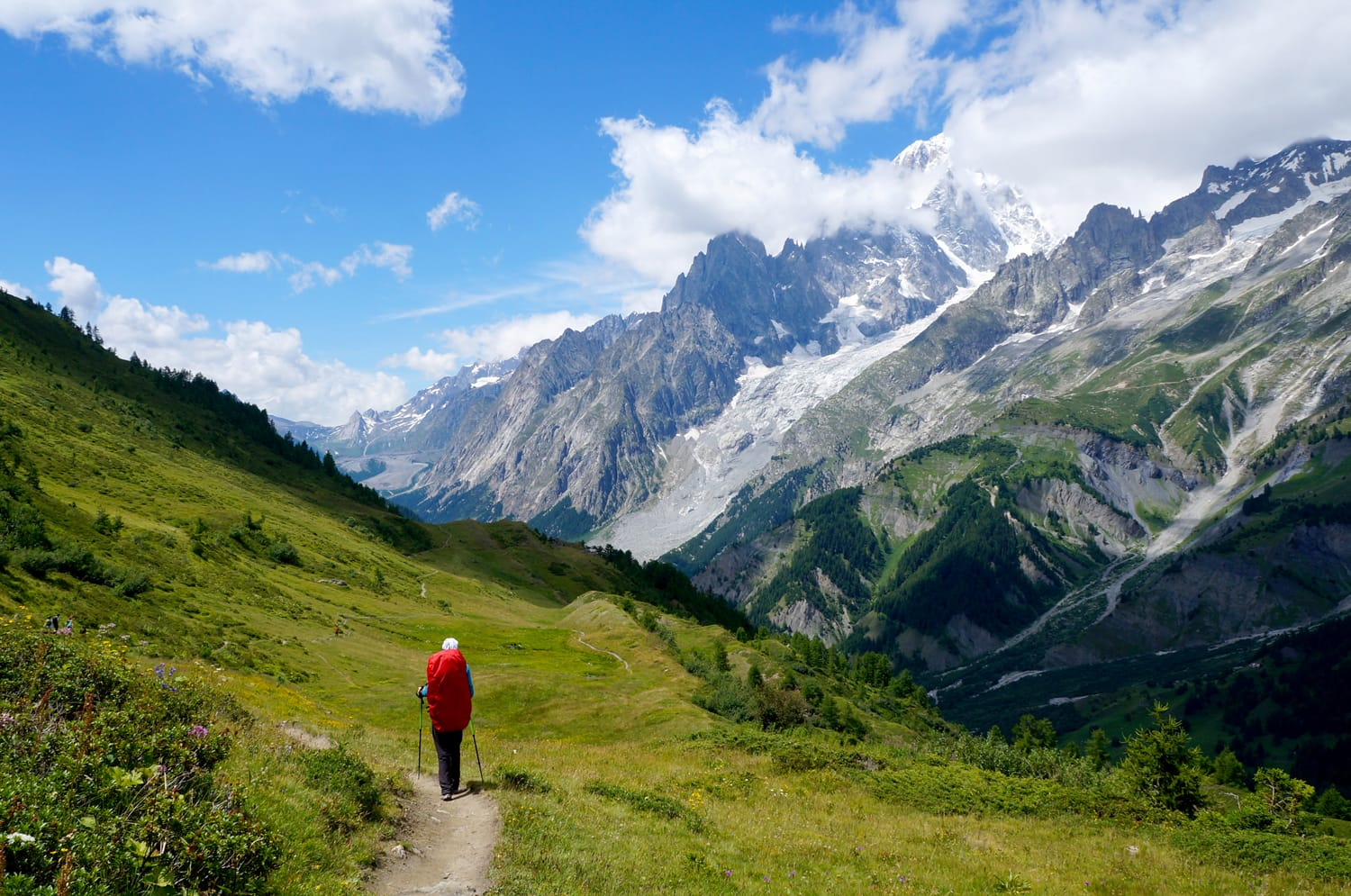 Backpacker hiking in the mountains on a tourist track on the Tour of Mont Blanc, Italy