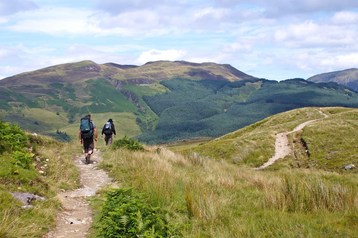 Hikers at The West Highland Way in Scotland, UK