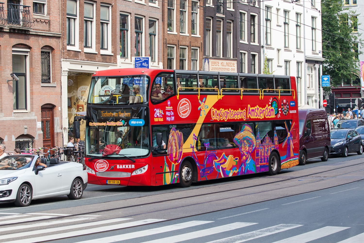 Red Hop-On Hop-Off city sight seeing doubledecker in Amsterdam