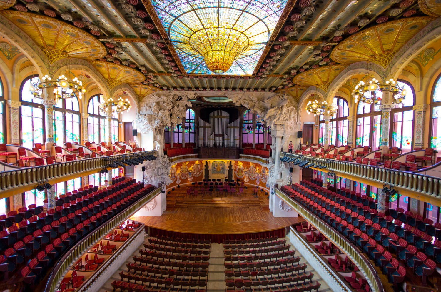 Palau de la Musica opera. Inaugurated in February 9, 1908, it is one of most famous concert hall in Spain.