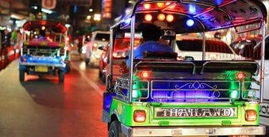 Tuk Tuk at night in Bangkok Thailand