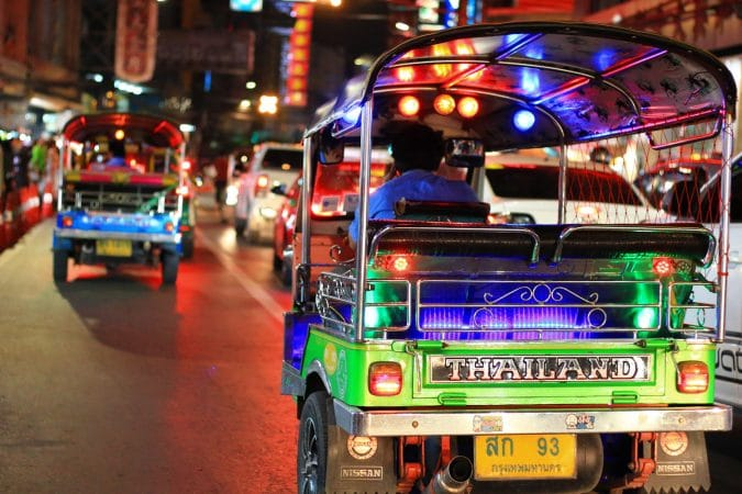 Tuk Tuk at night in Bangkok Thailand