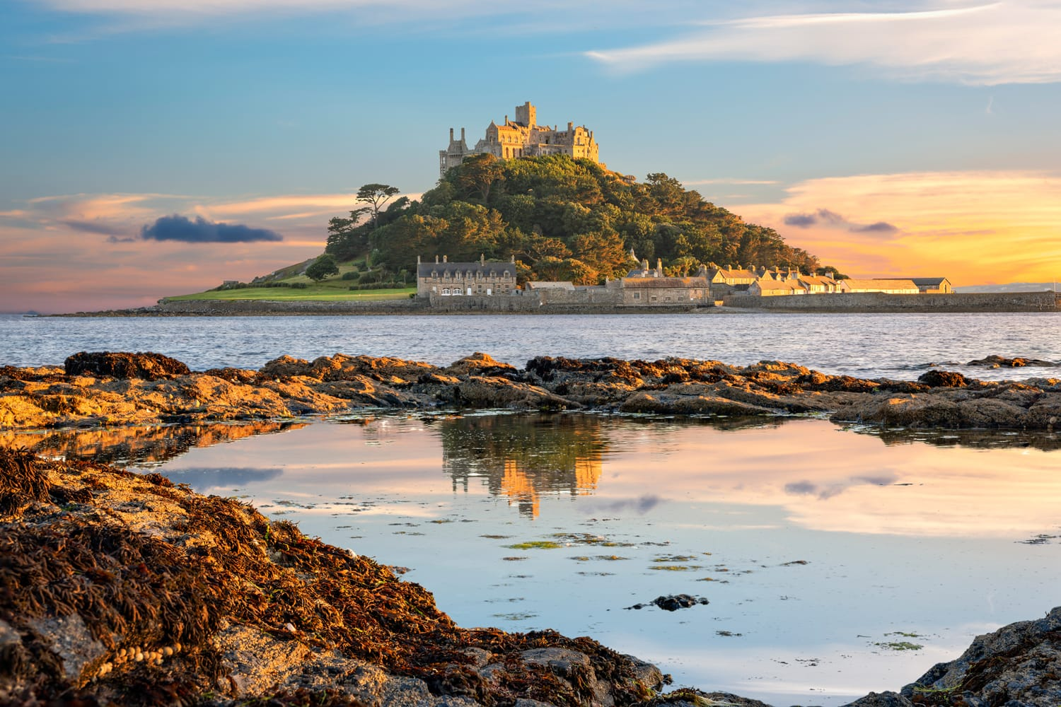 View of St Michael's Mount in Cornwall at sunset