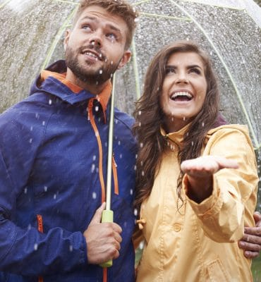 Couple using one of the best travel umbrella