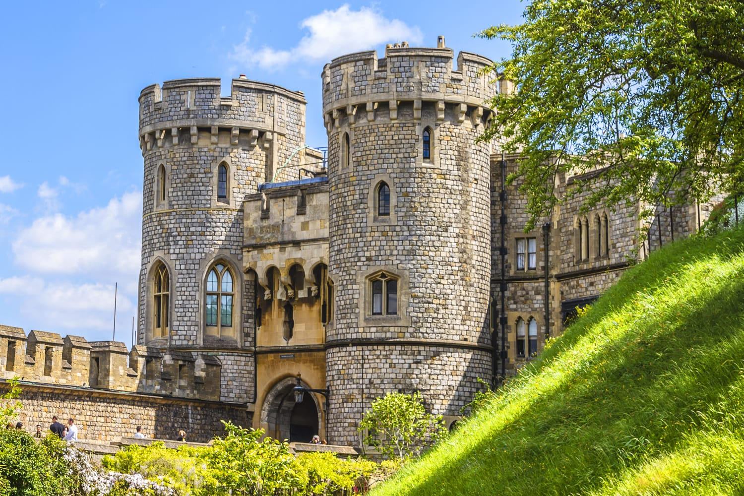 Outside view of Medieval Windsor Castle. Windsor Castle is a royal residence at Windsor in the English county of Berkshire.