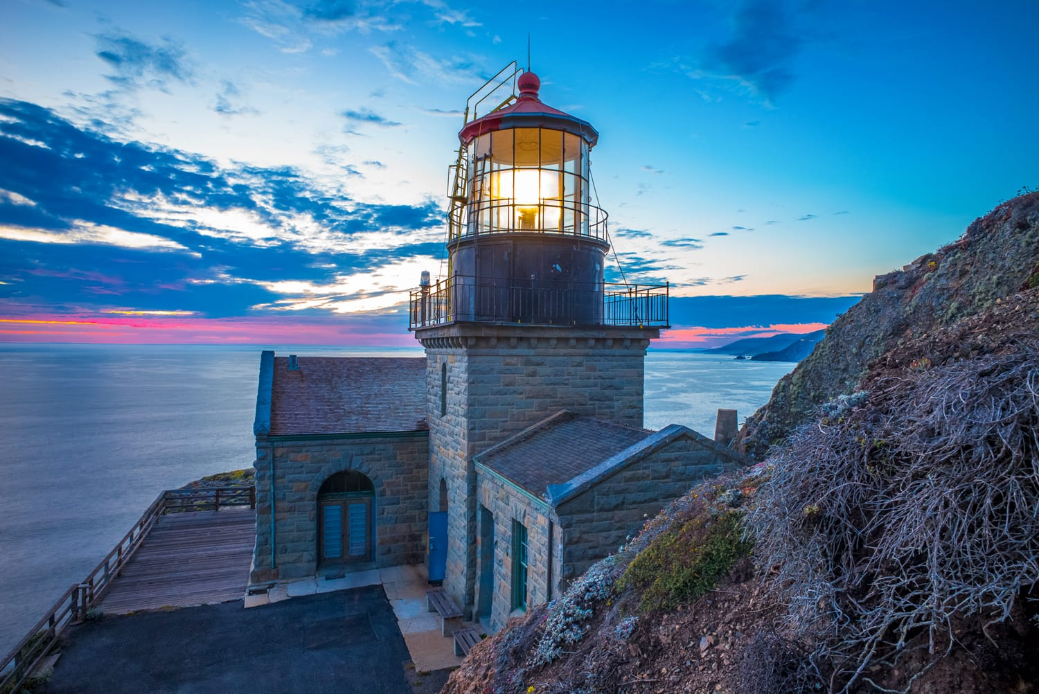 Point Sur lighthouse at sunset.