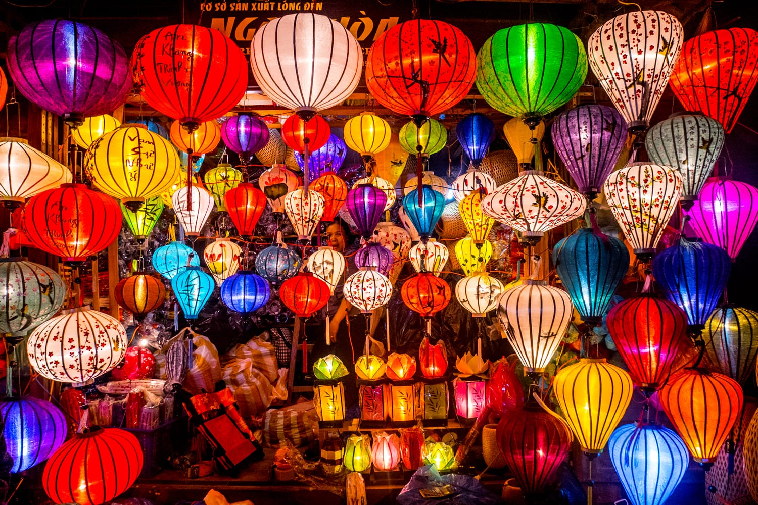 Colorful lanterns spread light on the old street of Hoi An Ancient Town